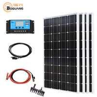 Boguang solar 400 w kit de sistema 4*100 w panel solar photovotaic módulo mono celular 40A controlador de cable para carga de energía del techo del hogar