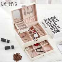 QMJHVX automático cuero caja de joyería de tres capas caja de almacenamiento para las mujeres, pendiente, anillo, organizador de cosméticos ataúd para decoraciones