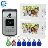 Cable RFID, Video, intercomunicador sistema impermeable IR cámara de 7 pulgadas Video de la puerta del timbre del teléfono dos Pantalla de Monitor de pantalla con RFID las llaves
