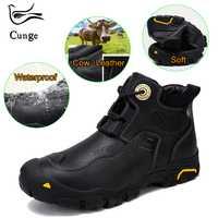 De cuero casuales de los hombres zapatos de cuero genuino de vaca invierno mantener caliente en la nieve Anti-colisión caminar al aire libre zapatillas de deporte para hombre