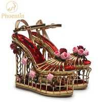 Phoentin oro flor sandalias de las mujeres super tacón alto 16 cm plataforma boda zapatos de novia, correa en el tobillo hebilla de fiesta de lujo zapatos de mujer Zapatos FT337