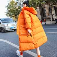 Abrigo de invierno para mujer 2019 nueva chaqueta de invierno para mujer Parka larga con capucha de plumón de pato blanco grueso cálido abrigo suelto para mujer