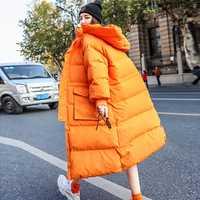 Manteau d'hiver femmes 2019 nouvelle veste d'hiver femmes Long vers le bas Parka à capuche blanc canard vers le bas veste épaisse chaude femme lâche vers le bas manteau