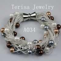 Hecho de perlas joyería 8mm ronda mar Concha perla pulsera 24 filas broche de imán perfecto cumpleaños regalo de las mujeres a34