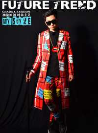 Discoteca cantante masculino derecho Chi dragón GD bailarín equipo DJ línea roja larga traje bar accesorios trajes etapa vestido