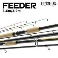 Pesca girando atraer varilla de fibra de carbono 3,6 m 3,9 M UL ML potencia 3 + 3 secciones fly Rod 60-230g peso del señuelo vara de pesca