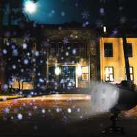 LED etapa efecto de luz giratoria blanco Snowflake proyector impermeable luces de césped al aire libre Navidad nevando Lámpara decorativa