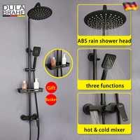 Negro ducha de lluvia grifo frío y caliente termostato cascada grifo mezclador baño cabeza de ducha de baño Digital Sistema de Panel