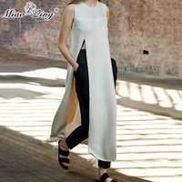 MIAOQING estilo coreano camisas mujeres 2018 moda largo Split camiseta Ulzzang borla tops harajuku ropa femenina blanco