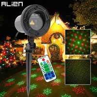 Alien remoto RG láser proyector de copo de nieve al aire libre estrella puntos luz láser Navidad árbol jardín impermeable Navidad ducha Iluminación