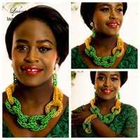 Marca laanc nigeriano boda Africana Juegos de joyería cristal Cuentas verde y oro Dubai joyería collar al248