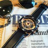 Reloj militar de esfera grande Megir reloj de pulsera de lujo de marca superior de cuero de moda para hombre