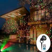 Girando verde rojo Navidad láser proyector luz al aire libre estrella del cielo paisaje de jardín fiesta decoraciones etapa lámpara de proyector