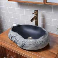 Chino imitación piedra lavabo cuarto de baño Baño de arte creativo en forma de sobre mostrador cuenca mini lavabo pequeño lw01016437
