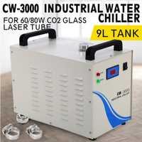 (El barco de la UE) CW-3000 Industrial enfriador de agua enfriador de 60 W/80 W Co2 de vidrio tubo láser grabador láser