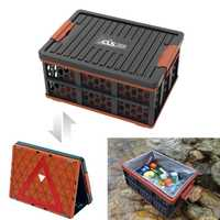 De plástico al aire libre caja de almacenamiento plegable grande maletero de coche cesta de cubo impermeable de pesca tanque simplificado advertencia Junta
