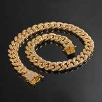 Hombres Mujeres Hip Hop MIAMI CUBAN LINK collar de cadena más guay cobre fundido Micro Cubic Zirconia cierre helado Bling joyería