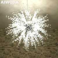 Luces de bola de acero inoxidable de luz LED de fuego restaurante y vestíbulo candelabro creativo moderno imitar cristal
