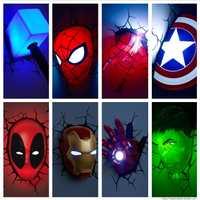 Nuevo-Marvel vengadores Capitán América de hombre de hierro LED cama dormitorio habitación 3D creativo lámpara de pared Decoración Luz de la noche