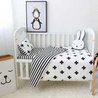 Juego de 3 unids piezas de cama de bebé conjunto de cuna de algodón negro blanco rayas patrón cruzado bebé cuna conjunto incluyendo funda de edredón funda de almohada sábana plana
