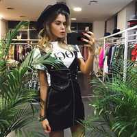 NUEVO ESTILO DE VERANO V cuello PU cuero negro Vestido Mujer 2018 Zipper Sexy Mini vestido rosa Sashes Vestido corto Sundress vestidos