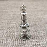 Caja de oración de la torre de Plata de Ley 925 medallón colgante budista Om mani padme hum