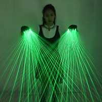 Guantes láser verdes de múltiples líneas 2 en 1, guantes láser Láser LED, gafas luminosas, para traje de robot LED, vestido luminoso, bar, música de fiesta festiv
