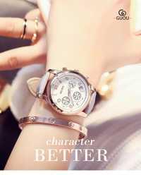 2019 nuevos relojes de diamantes GUOU para mujer, relojes de pulsera de lujo para mujer, reloj de fecha de cuero, relojes de diamantes de imitación, horas de moda