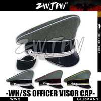 WW2 ejército colección Tapa verde-grisáceo oficial ala grande sombrero DE lana con dos placas DE/401139