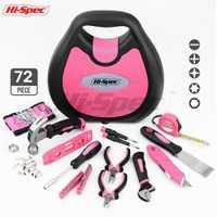 Hi-Spec Rosa 72 Unid herramienta de mano muchacha mujer DIY herramienta del hogar herramientas y Kits de reparación herramientas destornillador llave