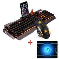 M398 cable naranja con retroiluminación LED Usb ergonómico teclado de juego Combo ratón + 2400 DPI óptica 6 botones Gamer ratón + Mouse Pad