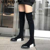 ALLBITEFO moda suave cuero de la vaca + flock talón plano nieve Invierno Caliente mujeres botas chicas sobre la rodilla muslo botas botas altas