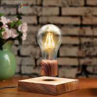Regalo flotante bombilla de luz levitando flotante bombilla creativo único flotante Led de madera marrón luz LED magnetismo casa Escritorio