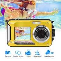HD268 cámara Digital a prueba de agua 2,7 pulgadas TFT cámara de doble pantalla 24MP MAX 1080P Full HD subacuática Zoom videocámara nueva llegada