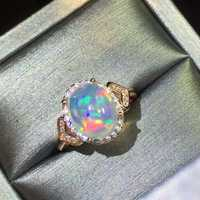 Anillos de ópalo natural de 100% en joyería de plata sólida real 925 para mujer anillo de compromiso anillo de plata ópalo a la moda para ti