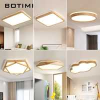 BOTIMI 220 V LED luces de techo de madera rectangular lámpara montada en el techo para sala de estar lámparas de techo redondas luces de madera modernas