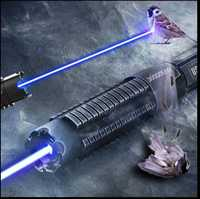 Alta potencia militar más poderosa 450nm 100000 M puntero láser azul pluma foco ajustable quema de papel rango de hasta 10000 metros