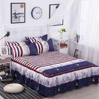 Nueva rayas Ropa de cama set Plaid Faldas de cama con almohada flor impresión Sábanas colchón colchas cubierta 3 unids/set