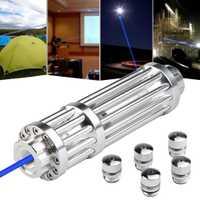 De alta potencia de 5000 m azul punteros láser 1500nm láser linterna quemando encuentro/luz quemar puro/vela/negro caza wuthout batería
