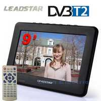 LEADSTAR HD TV 9 pulgadas DVB-T2 DVB-T Digital y analógica Mini Led HD portátil TV todo en 1 compatible con USB registro de programa de televisión