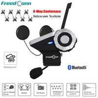 T-rex 1500 m Full Duplex motocicleta Bluetooth casco intercomunicador 8 Grupo de vías Talk System BT Interphone moto Communicatio + FM