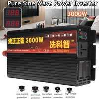 Onduleur 12 v/24 v 220 v 2000/3000/4000 w transformateur de Tension Sinusoïdale Pure Puissance D'onde onduleur DC12V à AC 220 v Convertisseur + 2 LED Affichage