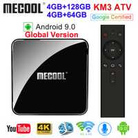 MECOOL KM3 ATV Androidtv Google certifié Android 9.0 TV Box 4GB 64GB 128GB Amlogic S905X2 4K 5G double Wifi BT4.0 KM9 PRO 4G 32GB
