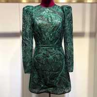 Verde Vestidos Mujer otoño cuello fiesta manga larga vestido 2019 de las mujeres de la moda nuevo Mini vestido