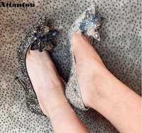Femmes pompes en cristal noir cendrillon talons hauts Design Sexy gladiateur talons minces femmes strass sans lacet chaussures de fête