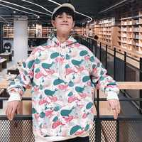 2018 hombres de Otoño de manga larga ropa suelta Impresión de dibujos animados Hoodies algodón Casual sudaderas moda marca Pullover S-XL