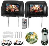 7 pulgadas coche negro DVD/USB/HDMI/reposacabezas de coche monitores con transmisor IR altavoces internos juegos de Video FM