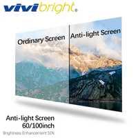VIVIBRIGHT pantalla Anti-luz de 60/100 pulgadas, pantalla de mejora de brillo 16:9 para proyector LED DLP proyector, cine en casa