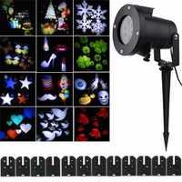 12 patrón lente reemplazable colorida Rotating LED proyector láser lámpara de jardín al aire libre paisaje de Navidad proyección de luz
