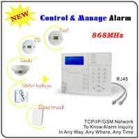 Europa calidad TCP/IP Ethernet de alarma GSM con RJ45 Puerto Android IOS APP Control remoto 868 MHz casa alarma antirrobo sistema